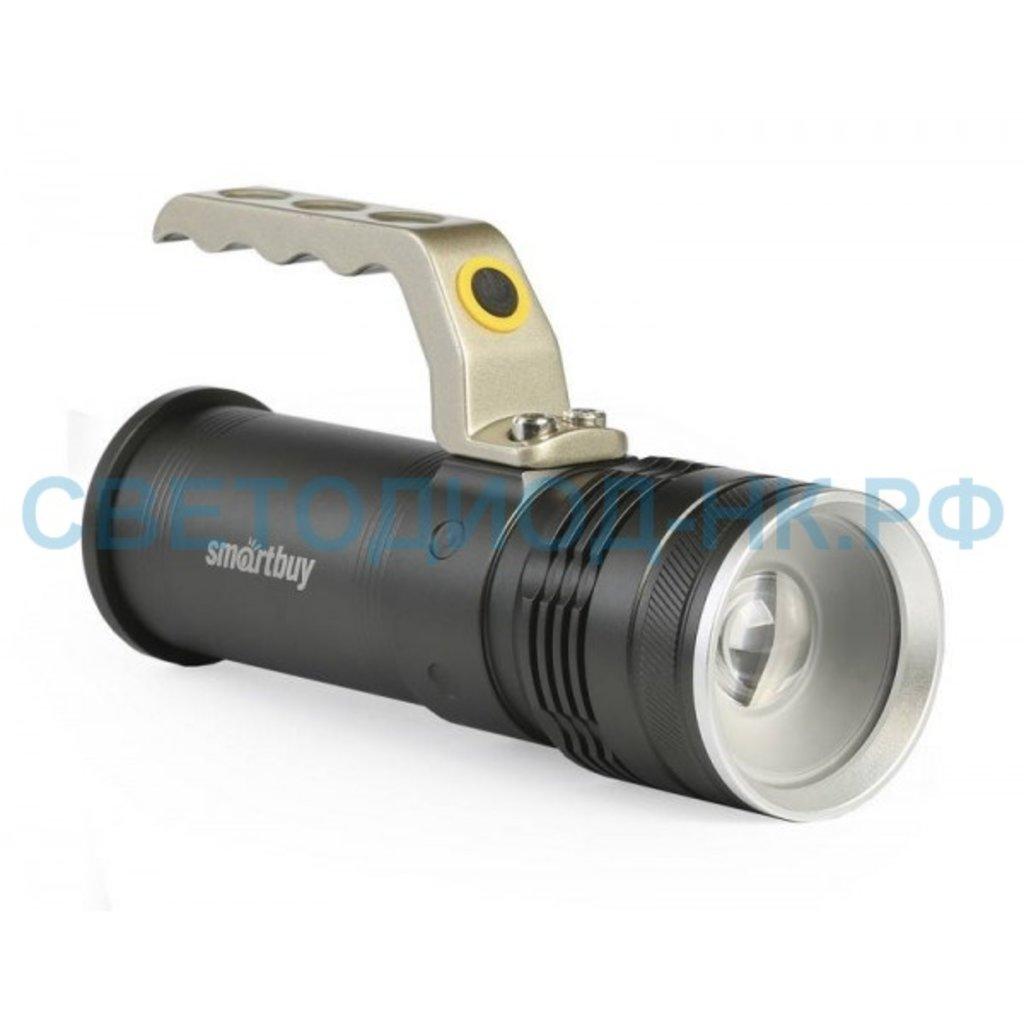 Светодиодные фонари, пушлайты: Фонарь SMARTBUY светодиод.аккум.CREE T6 10W с системой фок-ки луча, метал.с ручкой, IP54 SBF-32 в СВЕТОВОД