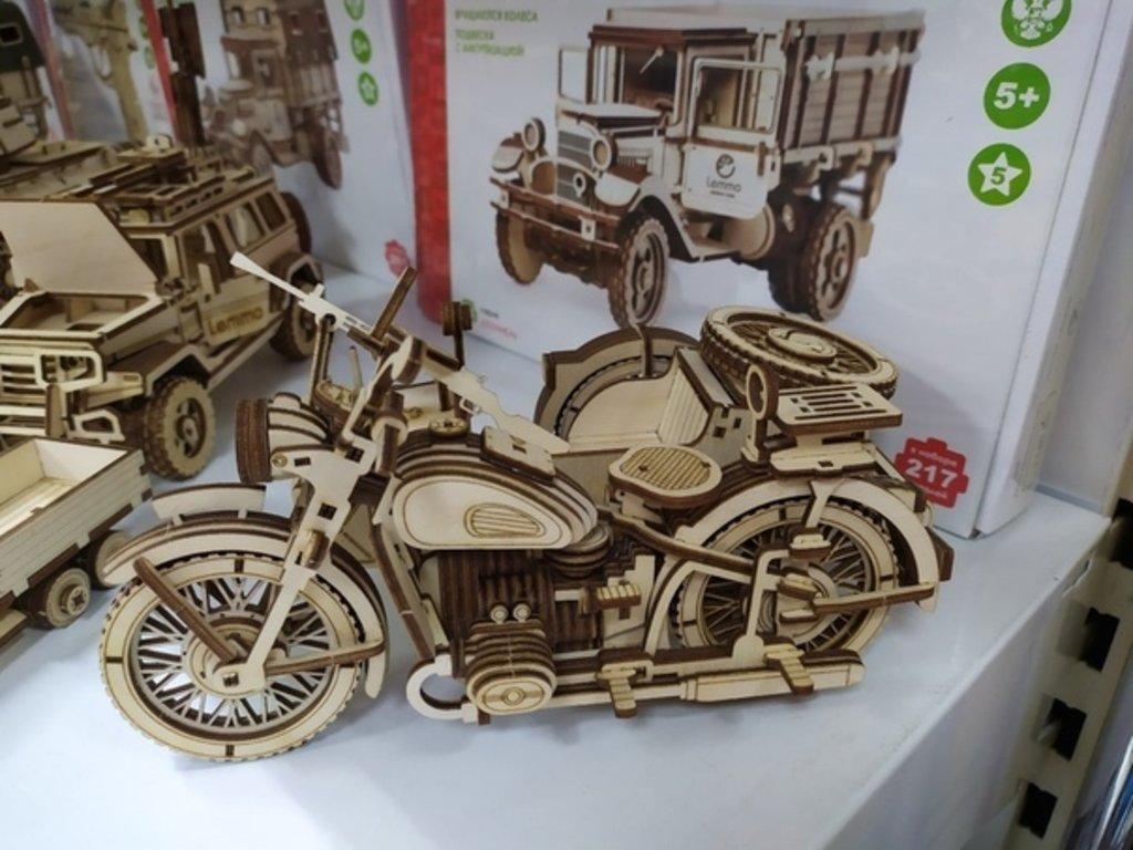 Конструкторы Леммо деревянные модели с движущимися деталями.: Мотоцикл с коляской «УРАН» конструктор деревянный. в Игрушки Сити