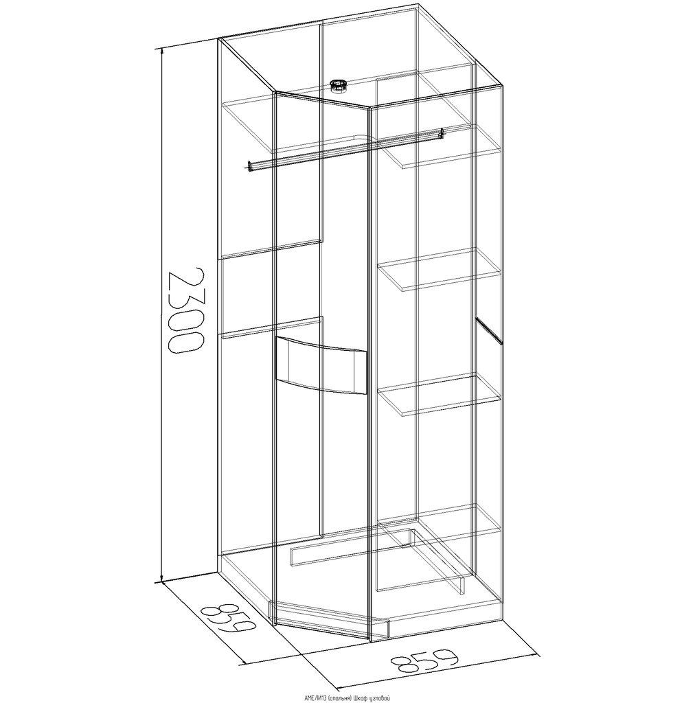 Шкафы для спальни: Шкаф угловой АМЕЛИ 13 в Стильная мебель