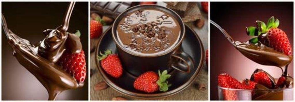Фартуки ЛакКом 4 мм.: Клубника в шоколаде в Ателье мебели Формат
