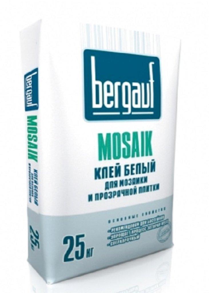 Сухие смеси Бергауф: Клей белый для мозаики и прозрач плитки 25кг Mosaik Bergauf в База строительных материалов ЯИК