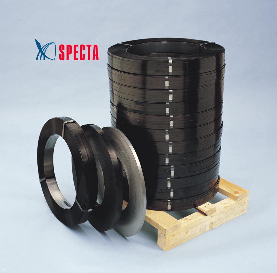 Упаковочные материалы, общее: Лента стальная упаковочная высокопрочная с покрытием черная краска+воск в Спекта Интерпак, ООО