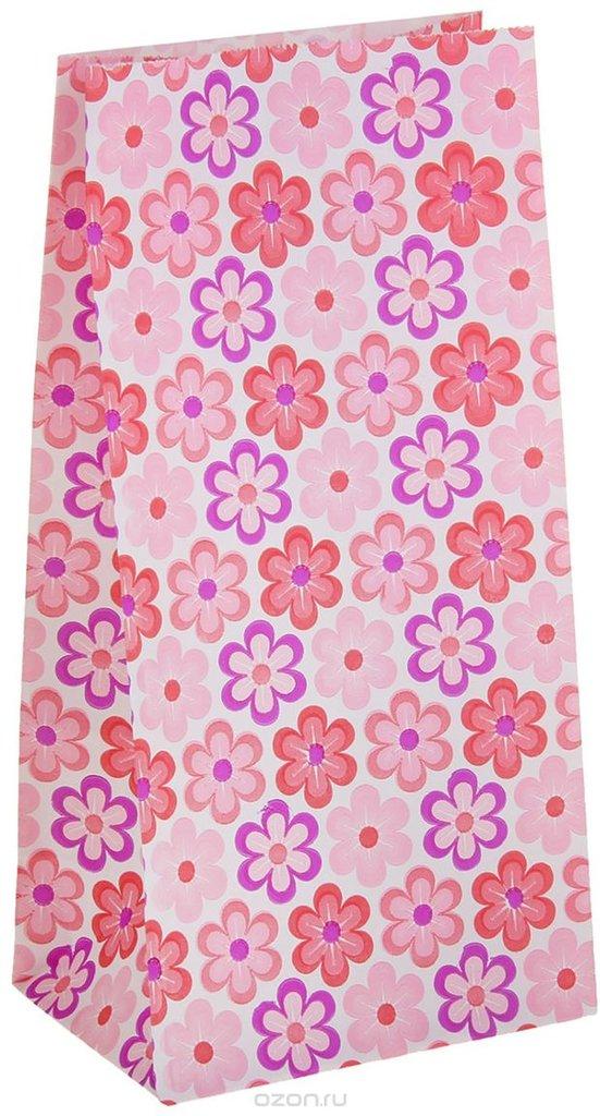 """Упаковка: Пакет подарочный """"Ромашки"""", цвет: розовый, 9 х 5 х 18 см в ТортExpress"""