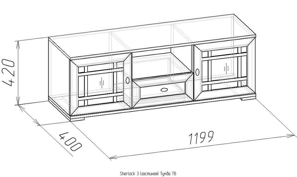 Тумбы и стойки под телевизор и аппаратуру: Тумба ТВ Sherlock 3 в Стильная мебель