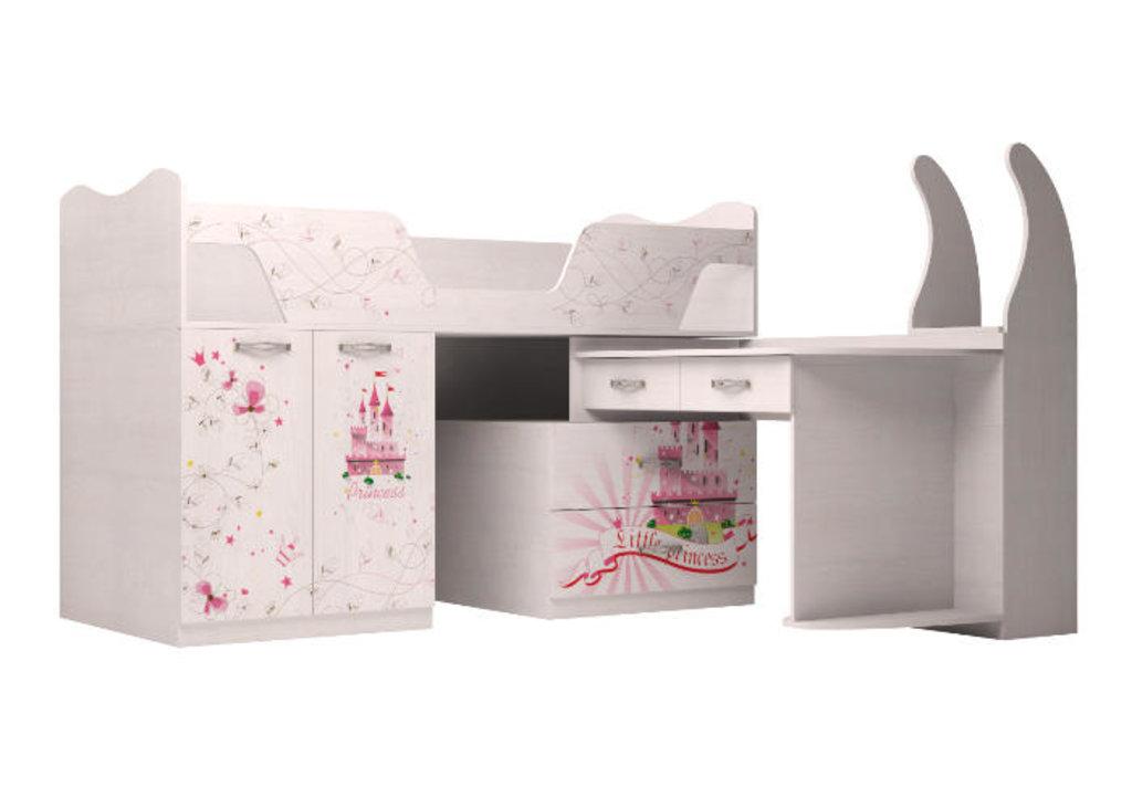 Детские и подростковые кровати: Комплекс универсальный 09 Принцесса (80х180, настил) в Стильная мебель