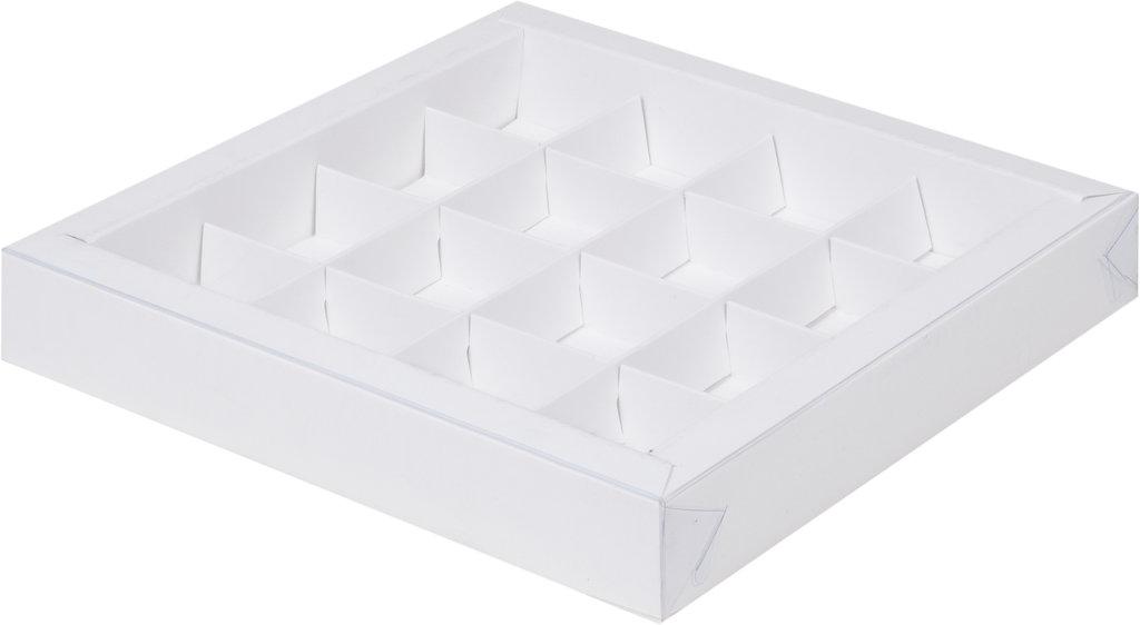Коробки для конфет и шоколада: Коробка для 16 конфет 200х200х30 белая с прозрачной крышкой в ТортExpress