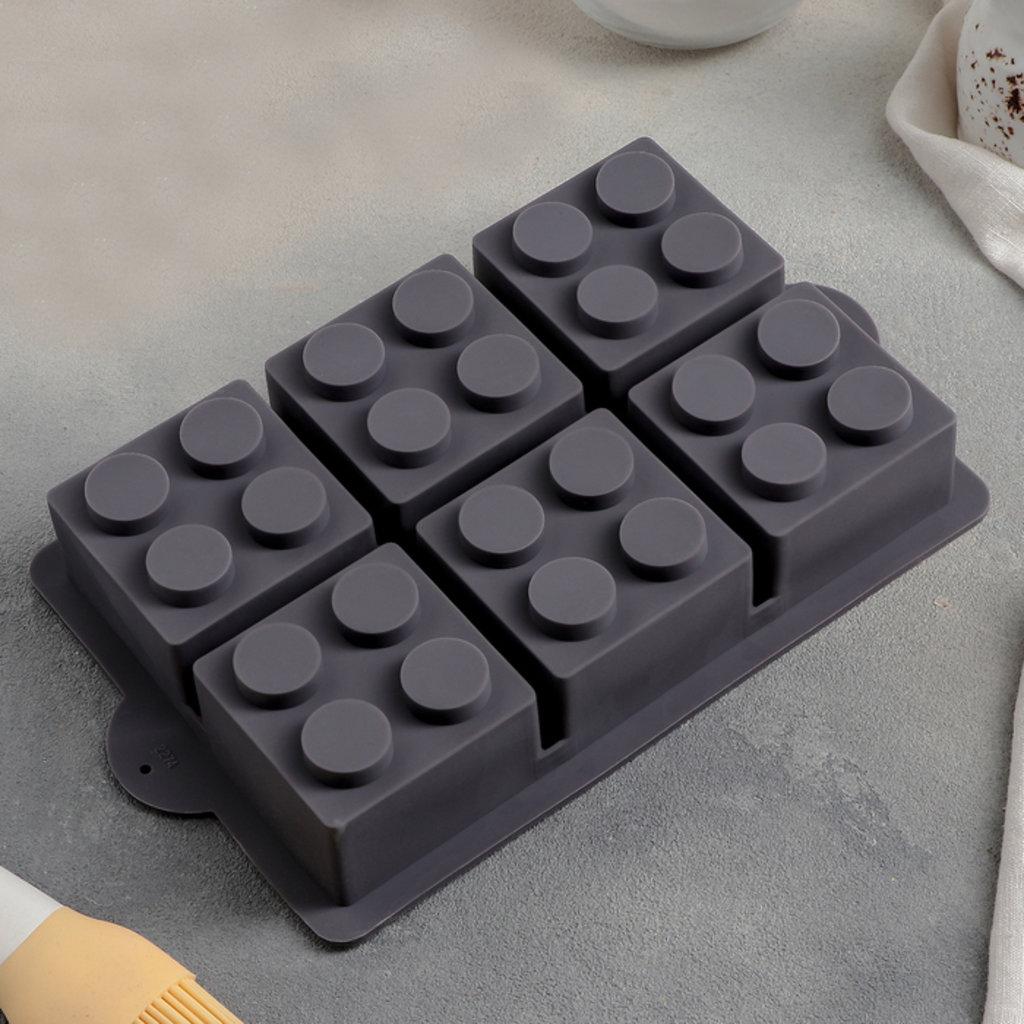 """3d формы: Форма для выпечки 6 ячеек, 25,7x15,8x3,5 см """"Фигуры. Конструктор"""", цвет МИКС в ТортExpress"""