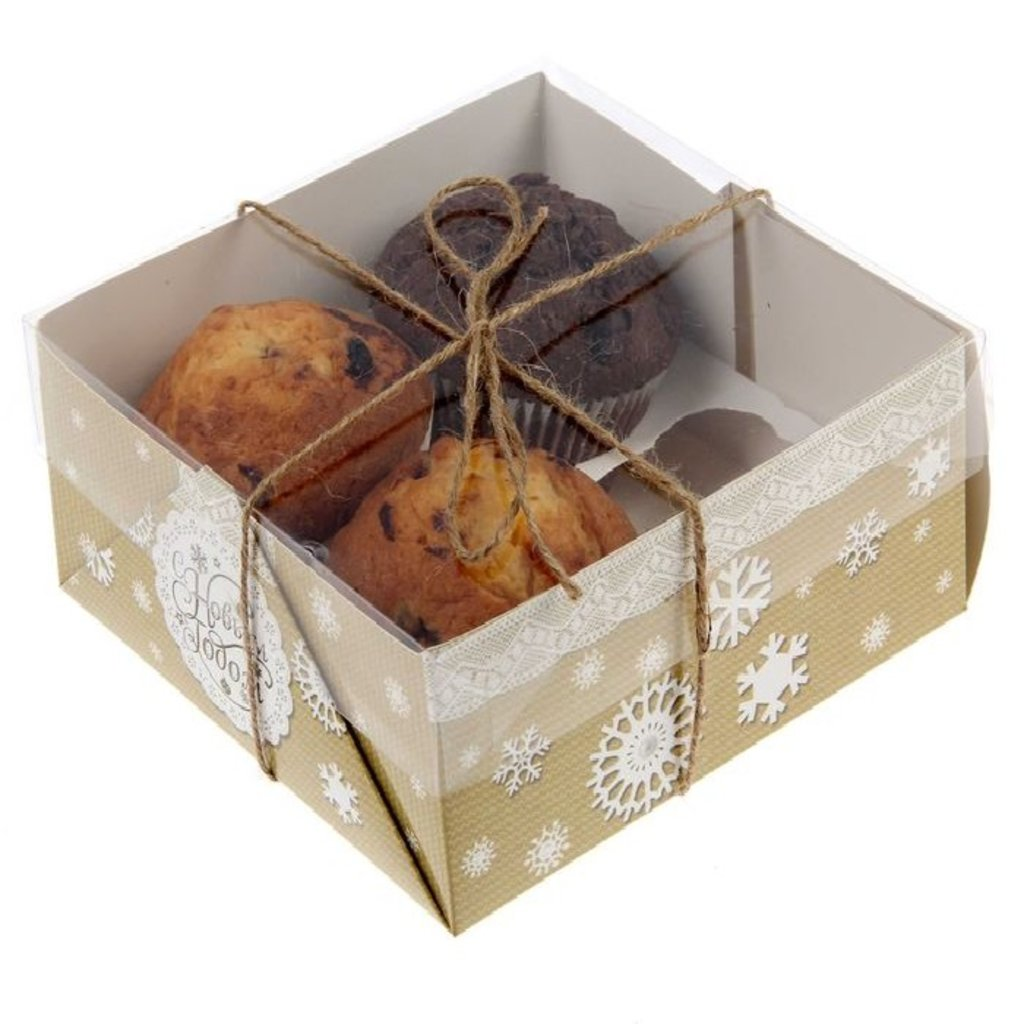 """Упаковка: Коробка для  4 капкейков """"Новогоднее кружево"""" в ТортExpress"""