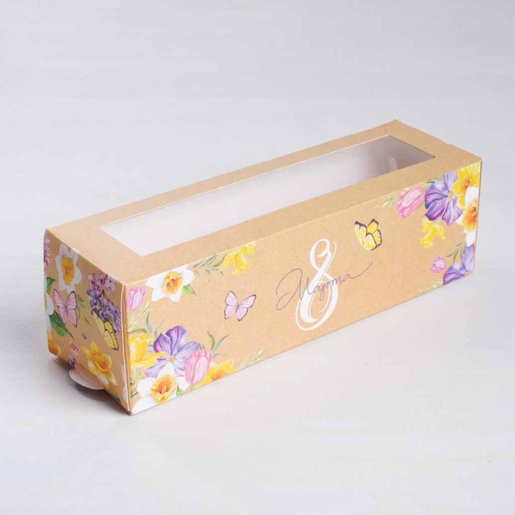 Коробки для макарон: Коробка складная «8 марта» 18 х 5,5 х 5,5 см. в ТортExpress