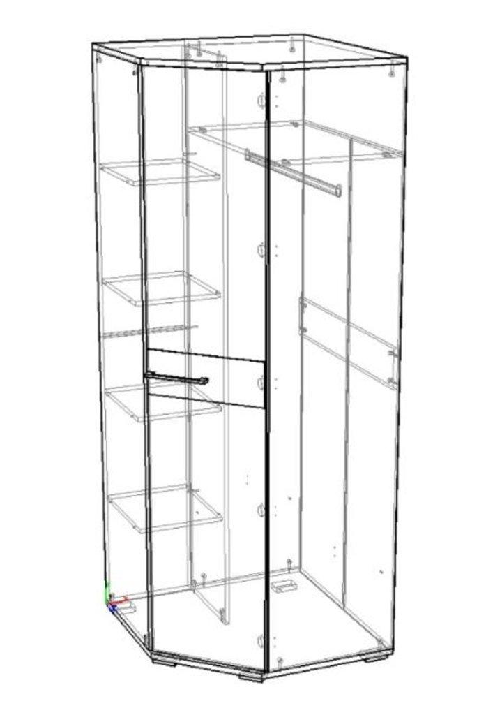 Мебель для спальни Луиза (венге / черный глянец): Шкаф угловой Луиза (венге / черный глянец) в Диван Плюс