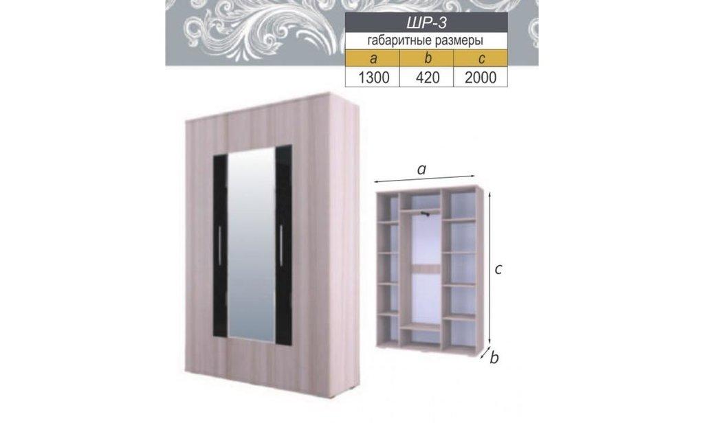 Модульная гостиная Кристалл: Шкаф распашной ШР-3 Кристалл (платье и бельё, 1 зеркало) в Уютный дом