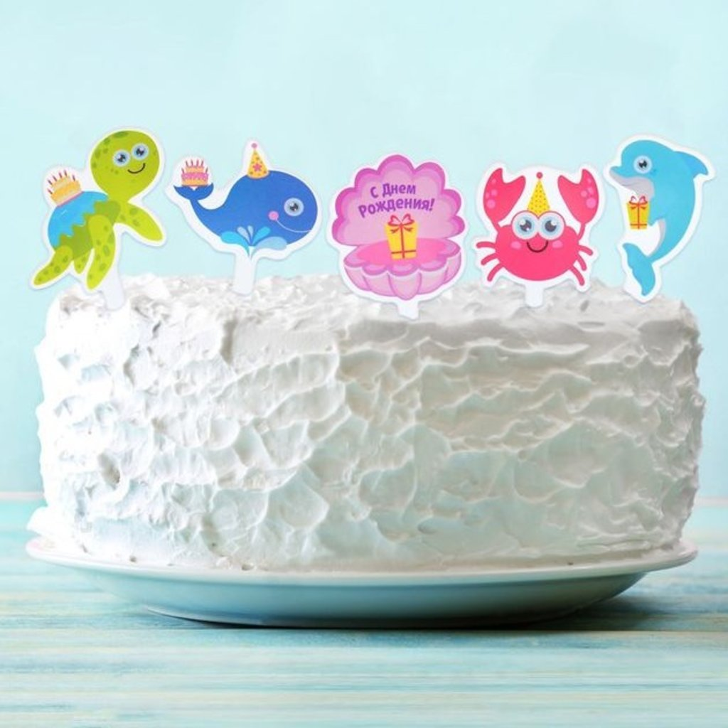 """Детские: Топперы для сладостей """"Морские жители"""", набор 10 шт. в ТортExpress"""