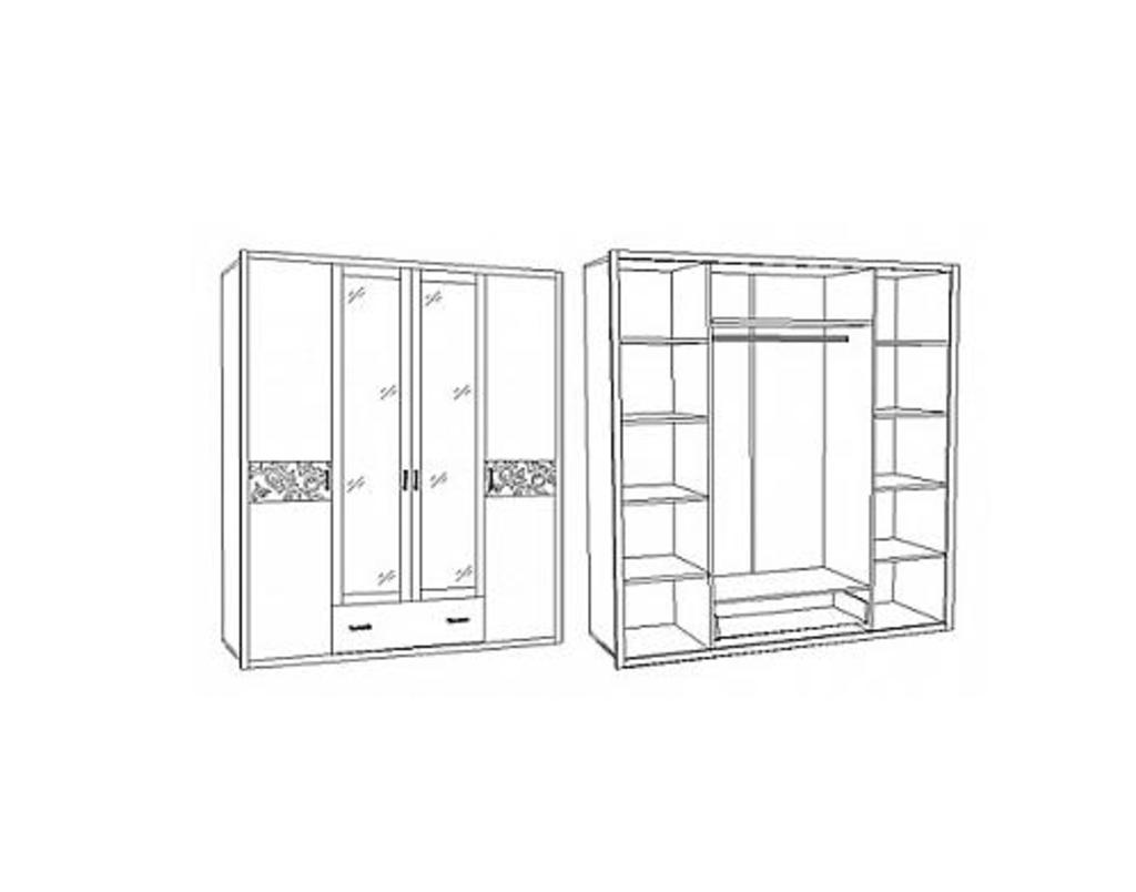 Шкафы для спальни: Шкаф 4-х дв. с подсветкой Белла Вайт в Стильная мебель