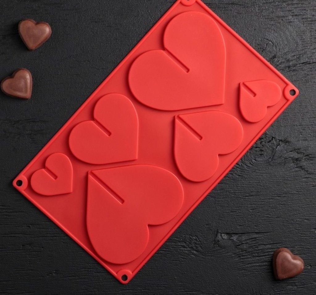 """Формы: Форма для шоколада """"Сердце"""" 3D, 6 ячеек, 17х29 см в ТортExpress"""