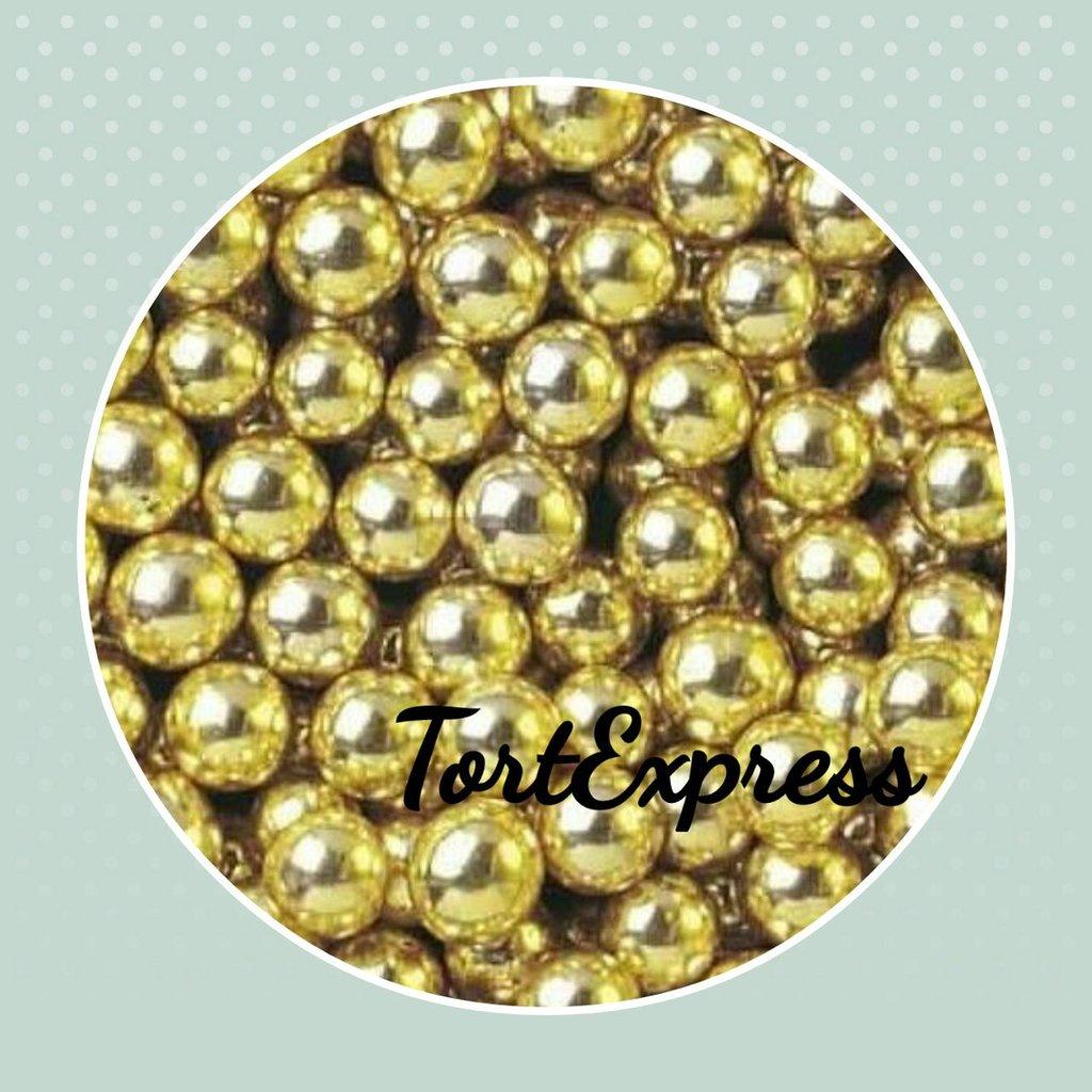 Золотой и серебряный декор: Шарики сахарные золотые 7 мм в ТортExpress