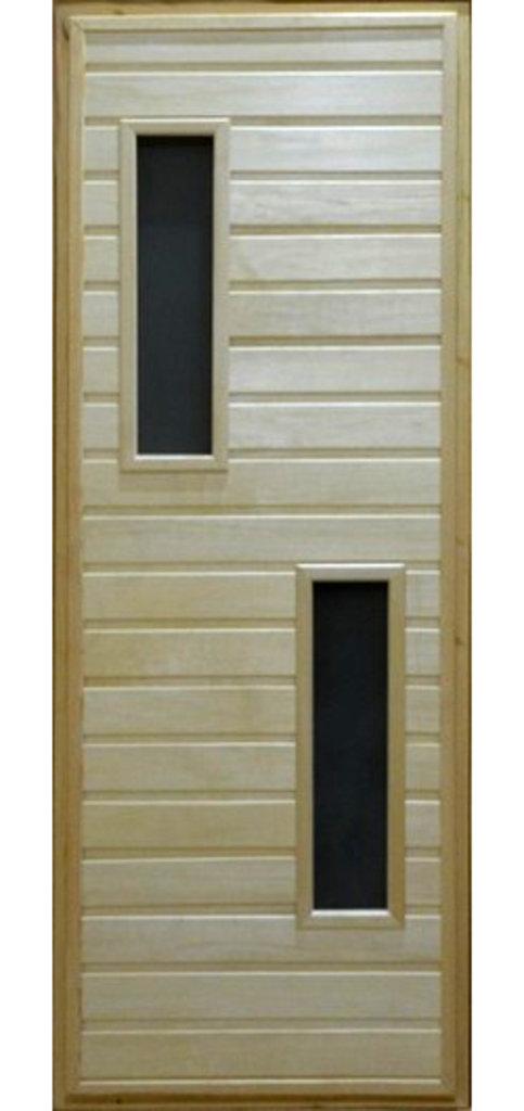 Двери для саун и бань: Дверь 700*1800мм банная со стеклом на петлях (вагонка сорт Экстра) в Погонаж