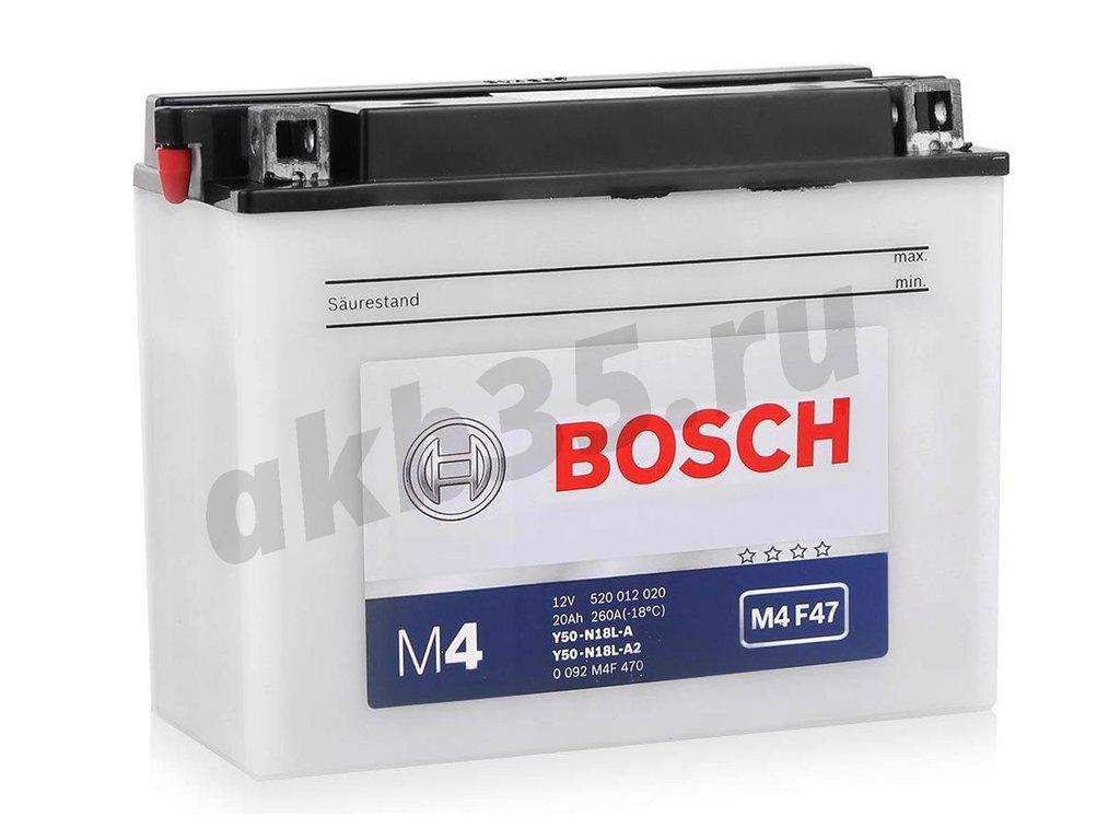 Аккумуляторы: BOSCH 20 А/ч M4 F47 Y50N18L-A2 (520 012 020) в Планета АКБ