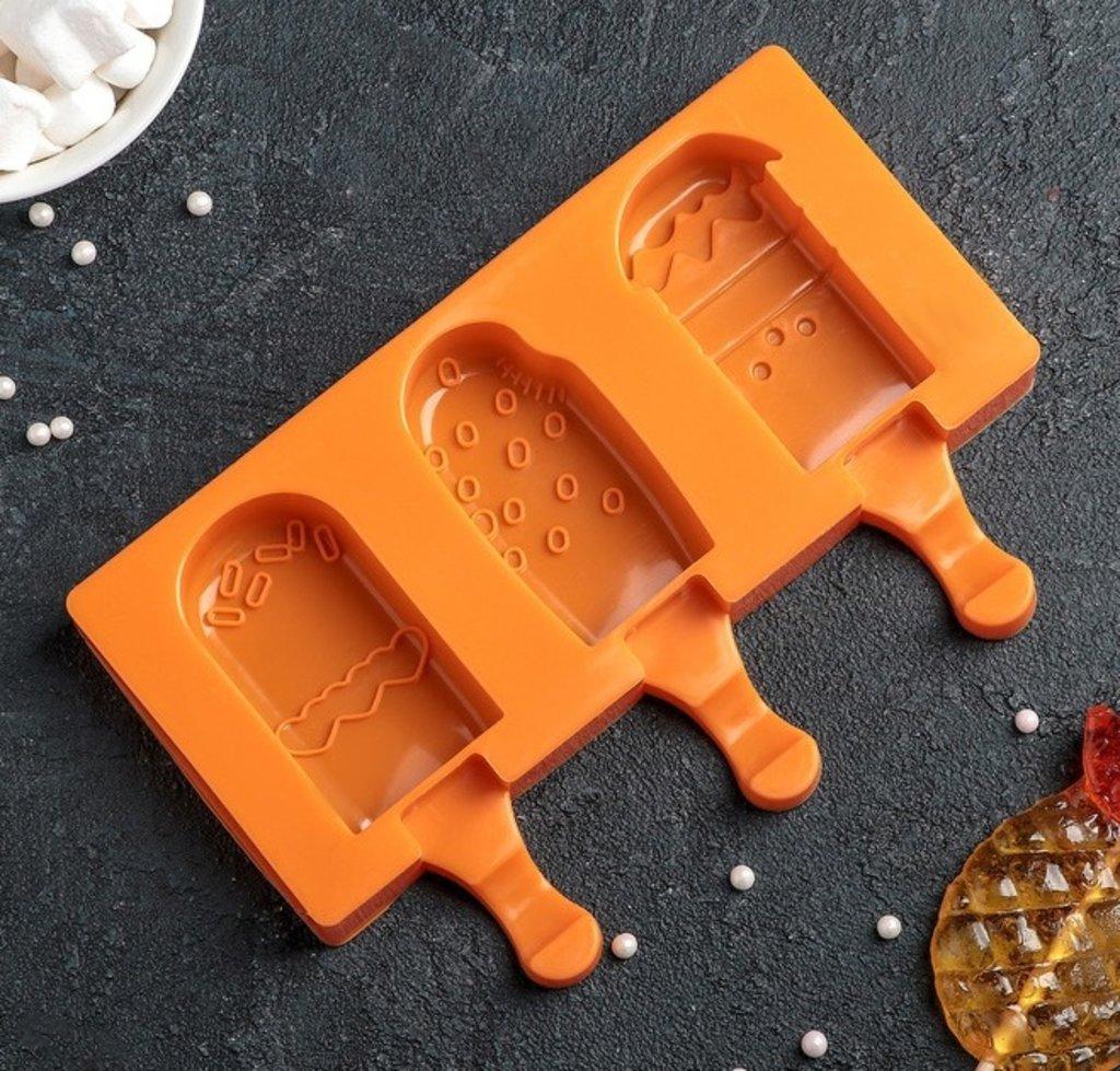 """Формы для мороженого: Форма для леденцов и мороженого 19,5×17,7 см """"Эскимо со сладостями"""" 3 ячейки в ТортExpress"""