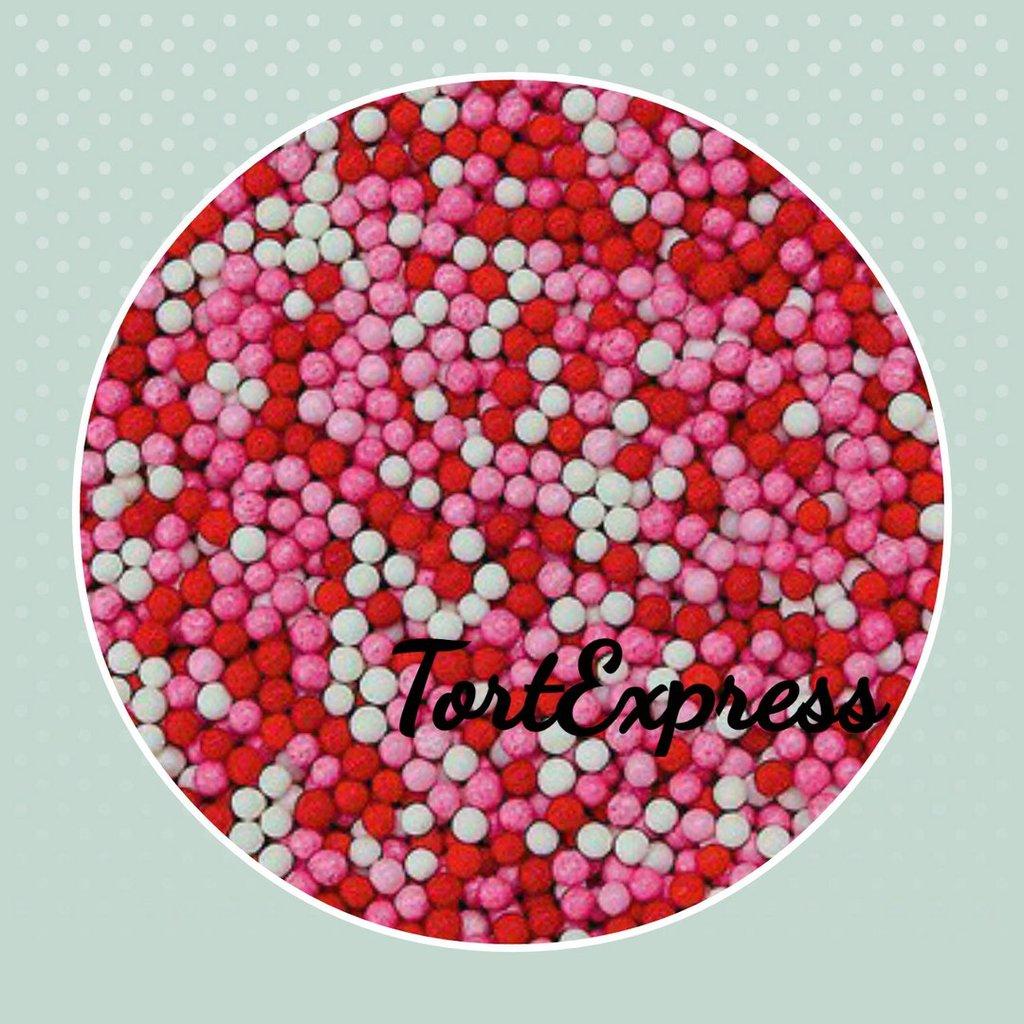 Посыпки декоративные: Шарики сахарные красно- бело-розовые (2 мм) 1кг в ТортExpress