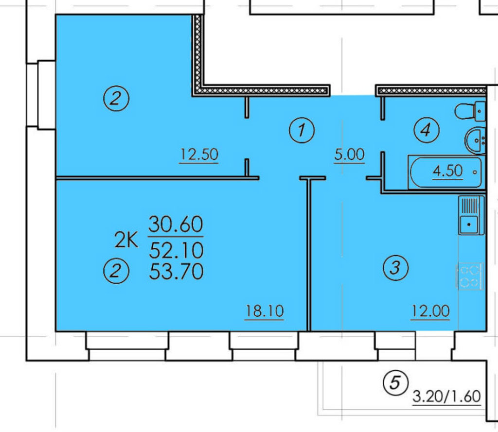 Двухкомнатные квартиры: Двухкомнатная квартира (№16) в РСУ-15  Специализированный застройщик ООО