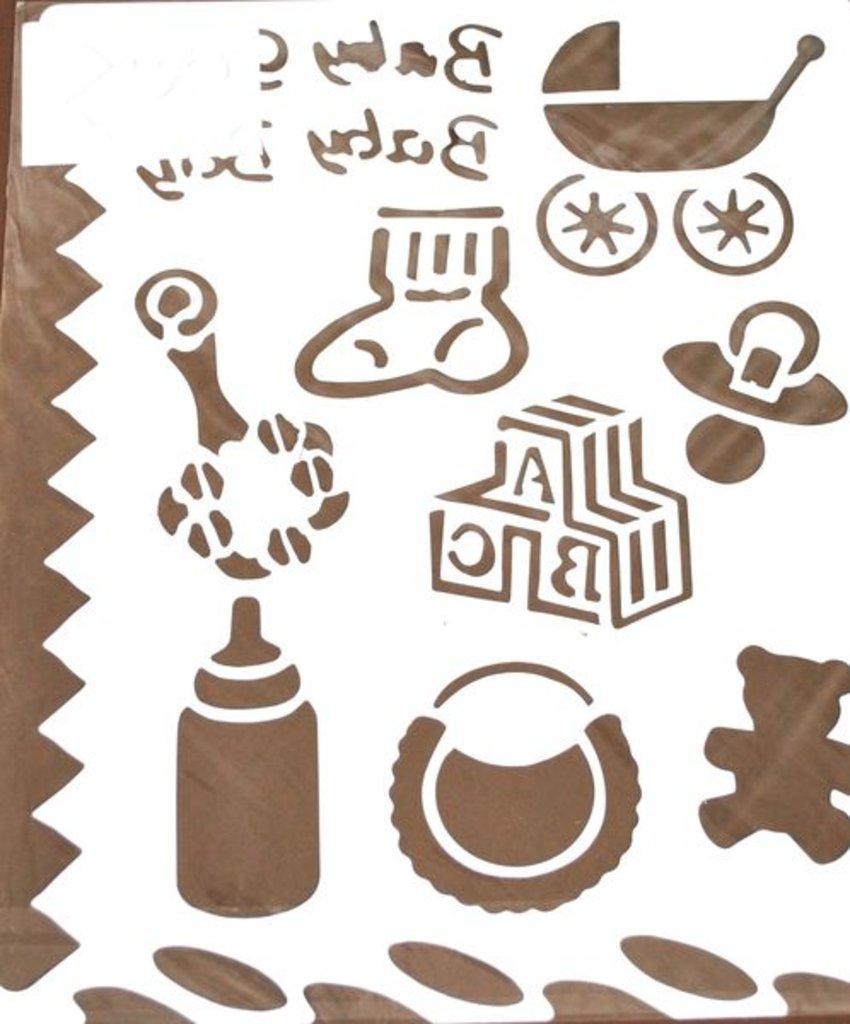 Трафареты: Трафарет пластиковый 25,5х20,5см Новорожденный в Шедевр, художественный салон