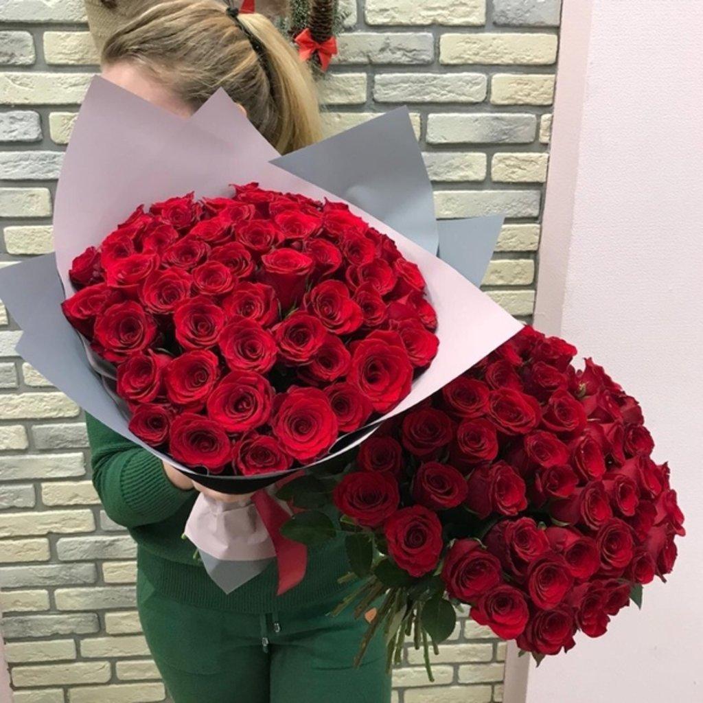 Мужские букеты: 51 Роза 42см Кения в оформлении в Первый цветочный