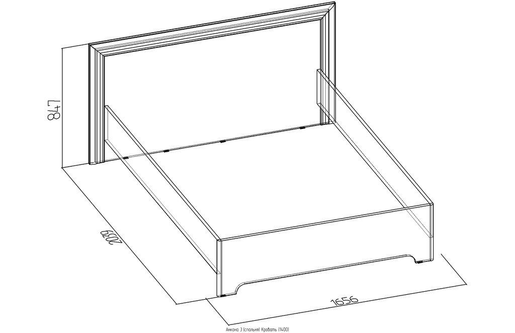 Кровати: Кровать Анкона 3 (1400, орт. осн. металл) в Стильная мебель