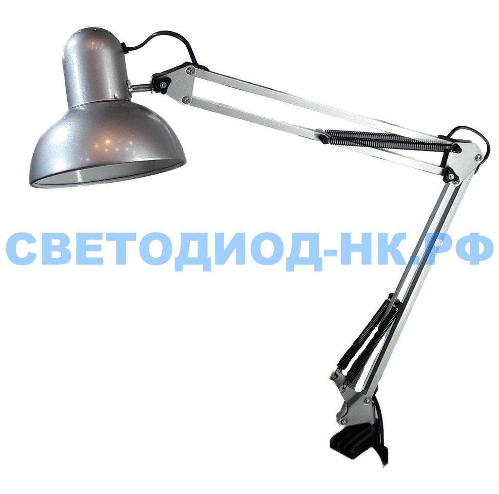 Настольные лампы, ночники: Лампа настольная Уютель UT-800В Е27 60W, серебро, на струбцине, шнур 1,5м, 220V в СВЕТОВОД