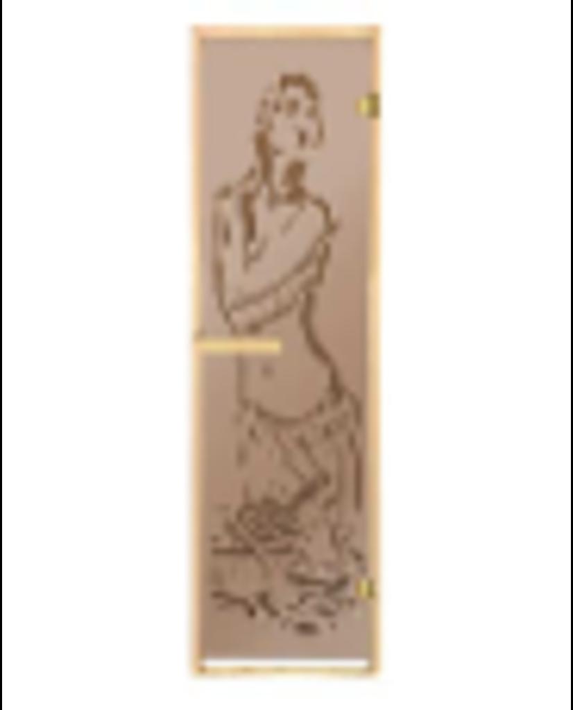 Двери для саун и бань: Дверь 700*1900 мм банная с каленным стеклом (6 мм, бронза матовое, рисунок) в Погонаж