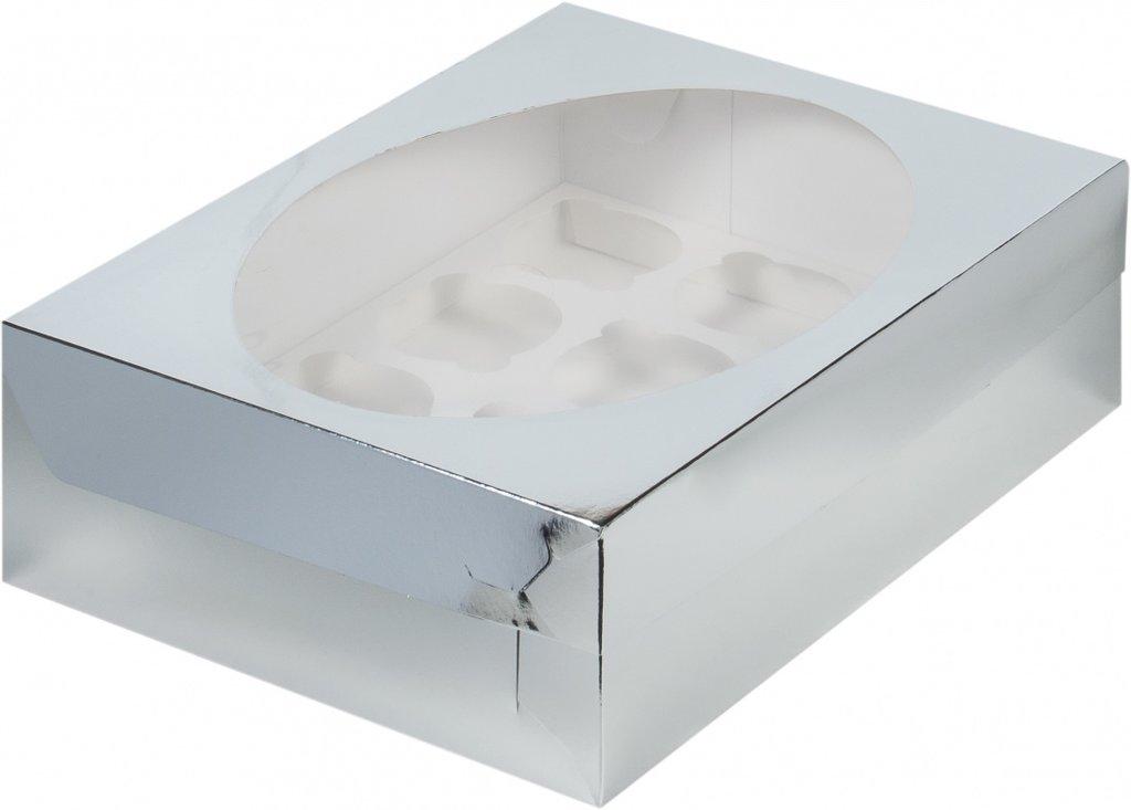 Упаковка: Коробка для 12 капкейков с окном СЕРЕБРО в ТортExpress