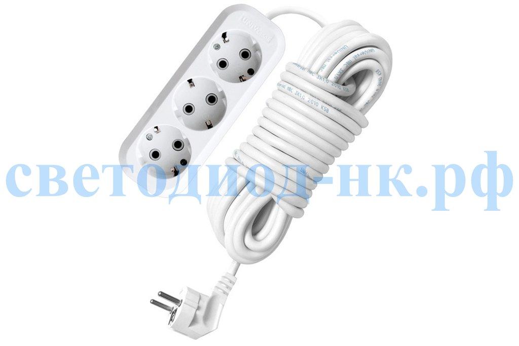 Удлинители, сетевые фильтры.: Удлинитель бытовой ТМ Союз 2200 Вт 3гн. ПВС с/з 3м в СВЕТОВОД