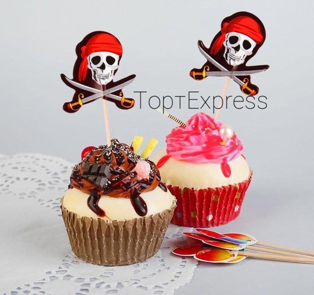 Шпажки: Пика для канапе «Череп Пирата» 12шт в ТортExpress
