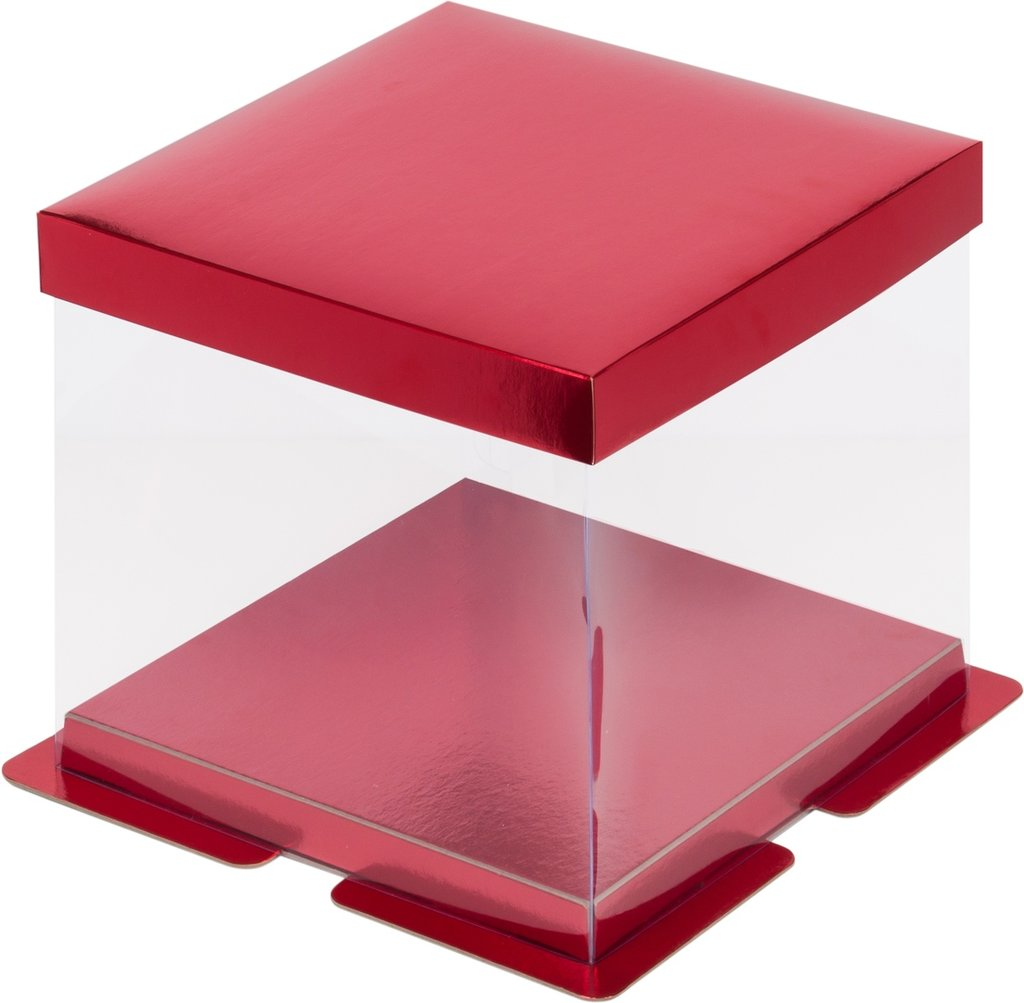 Коробки для тортов: Коробка под торт ПРЕМИУМ  260х260х280 КРАСНАЯ в ТортExpress