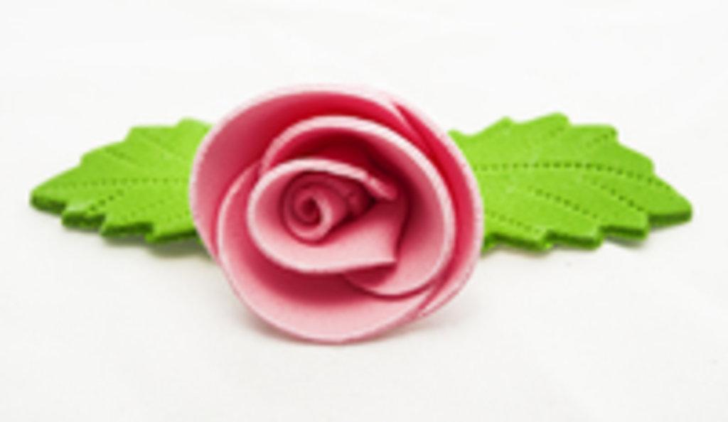 Украшения, декор: Украшение сахарное РОЗА розовая с листиком в ТортExpress