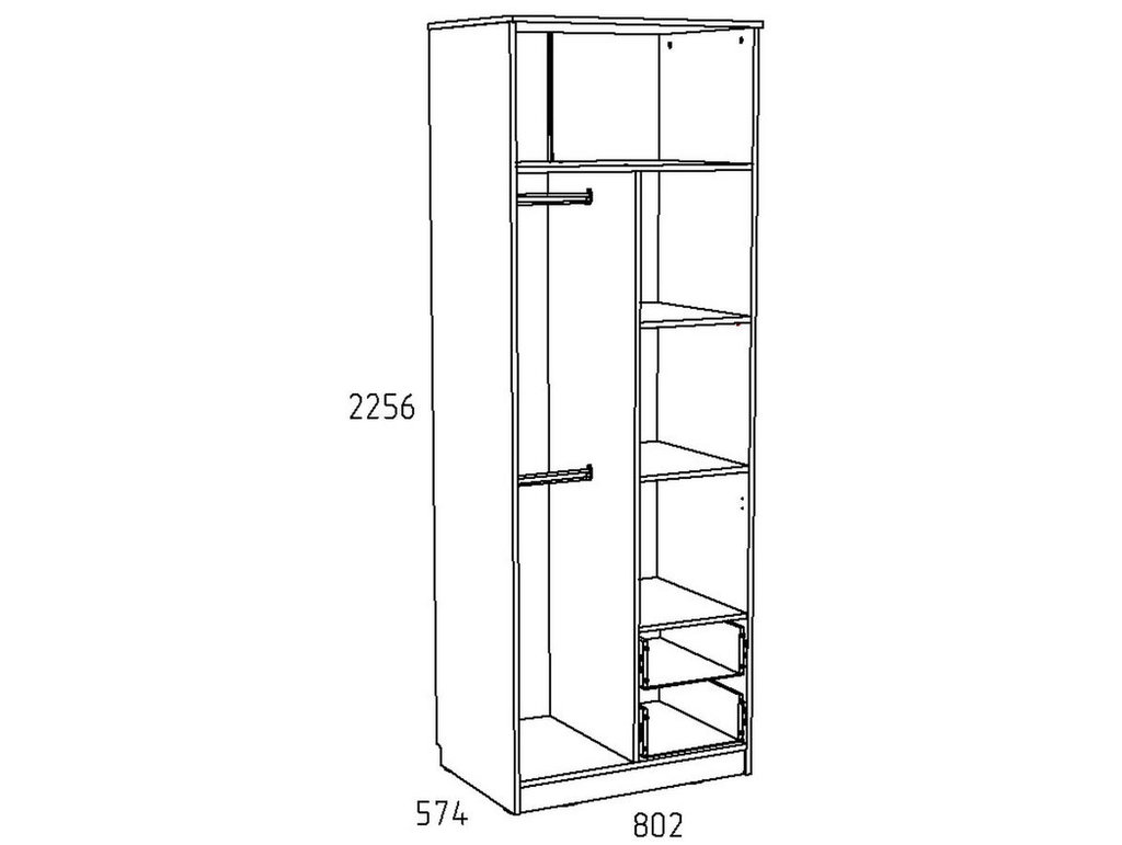 Детские шкафы и стеллажи: Шкаф для одежды с ящиками НМ 014.07 Акварель в Стильная мебель