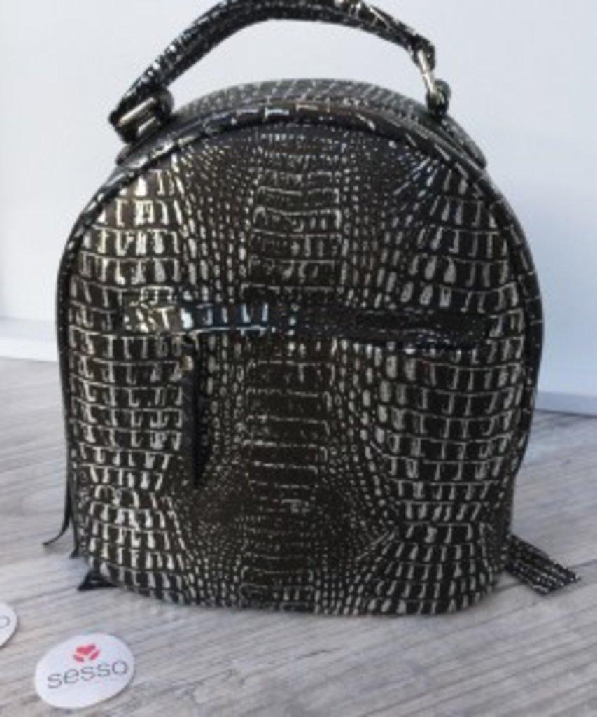 Рюкзачки, обувь: Рюкзак кожаный черный с серебром в Sesso