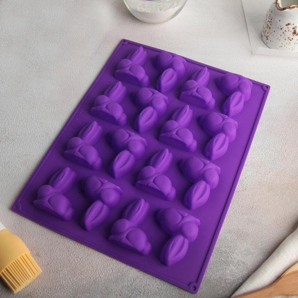 """Силиконовые формы для выпечки: Форма для выпечки 30×23 см """"Пасхальный кролик"""", 16 ячеек, цвет МИКС в ТортExpress"""