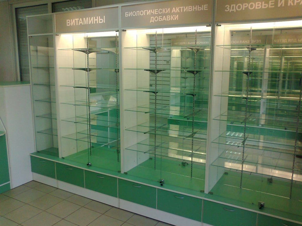 Мебель для аптеки: Витрины для аптек со стеклом в Студия Мебели