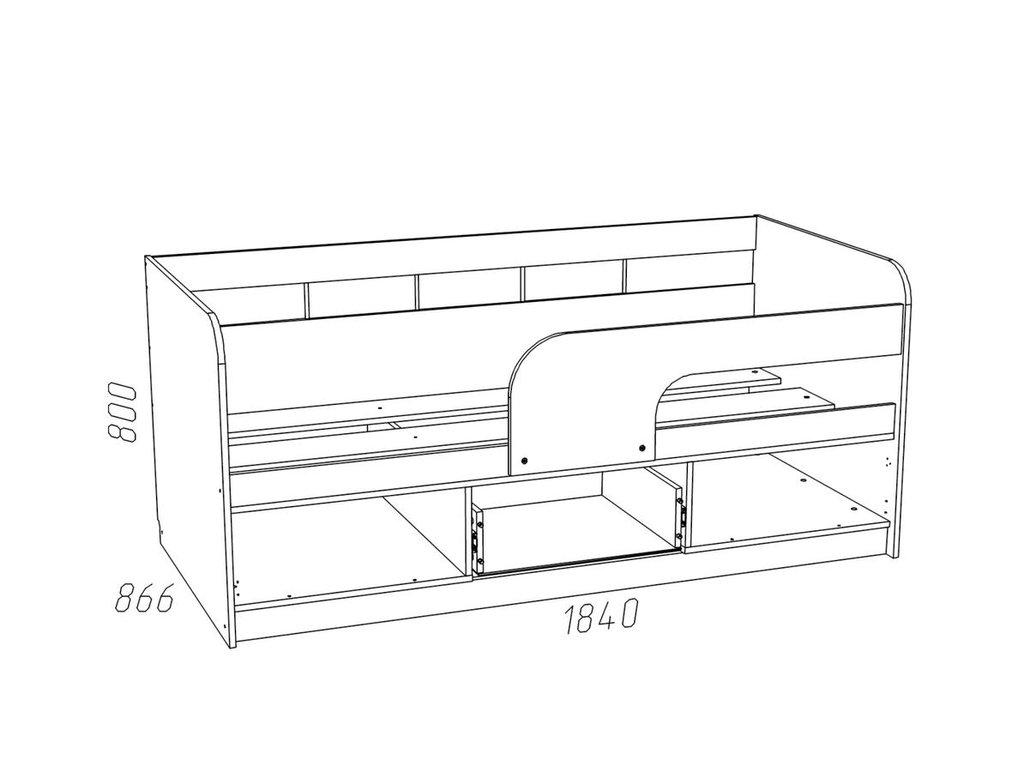 Детские и подростковые кровати: Кровать НМ 039.04 М Рико-М (800x1800, усилен. настил) в Стильная мебель