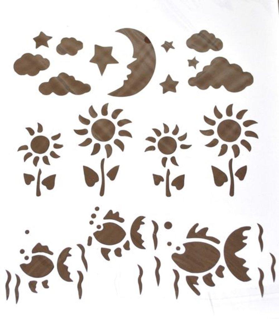 Трафареты: Трафарет пластиковый 22,5х20,5см  рыбы,подсолнухи,звездное небо в Шедевр, художественный салон