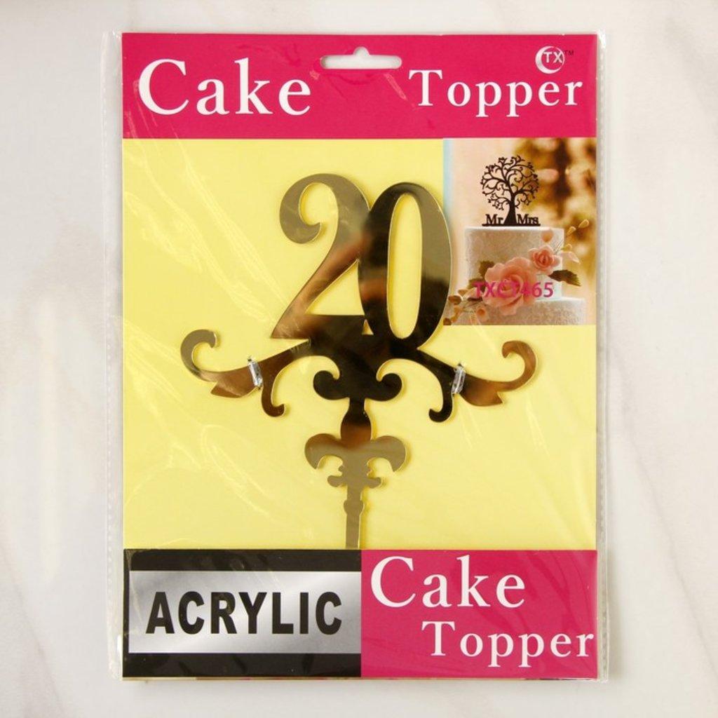 """Цифры: Топпер на торт """"20"""" 13х18 см, цвет золото в ТортExpress"""