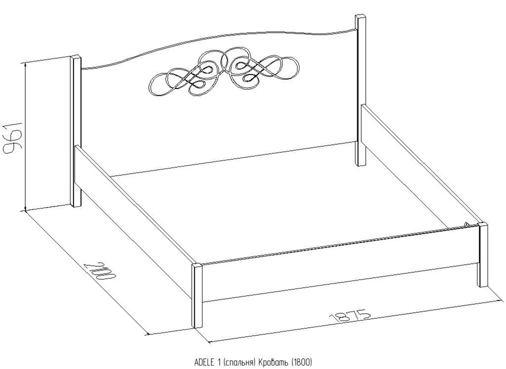 Кровати: Кровать ADELE 1 (1800, орт. осн. дерево) в Стильная мебель