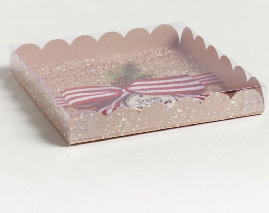 """Коробки для кондитерских изделий: Коробка для кондитерских изделий с PVC крышкой """"Тепла и любви""""  21 × 21 × 3 см в ТортExpress"""