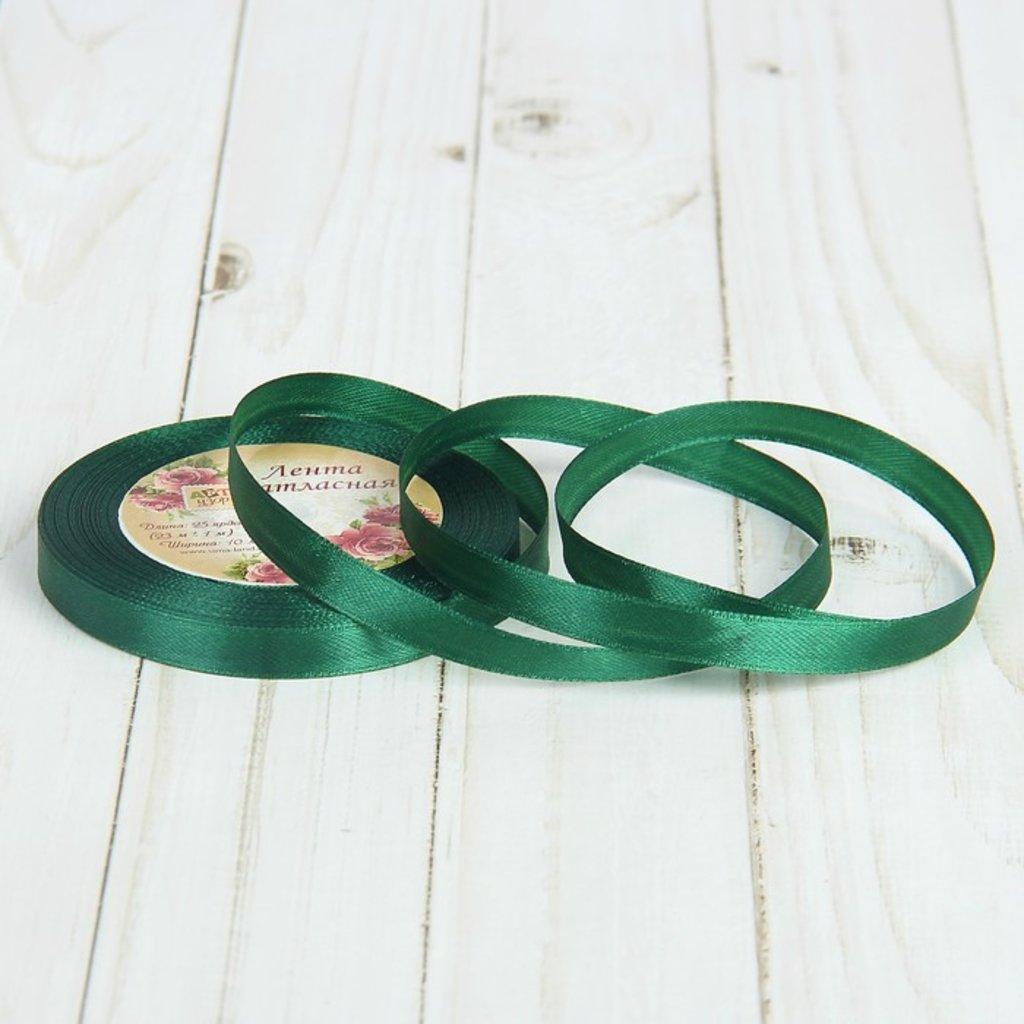 Ленты атласные: Лента атласная темно-зеленая №49 в ТортExpress