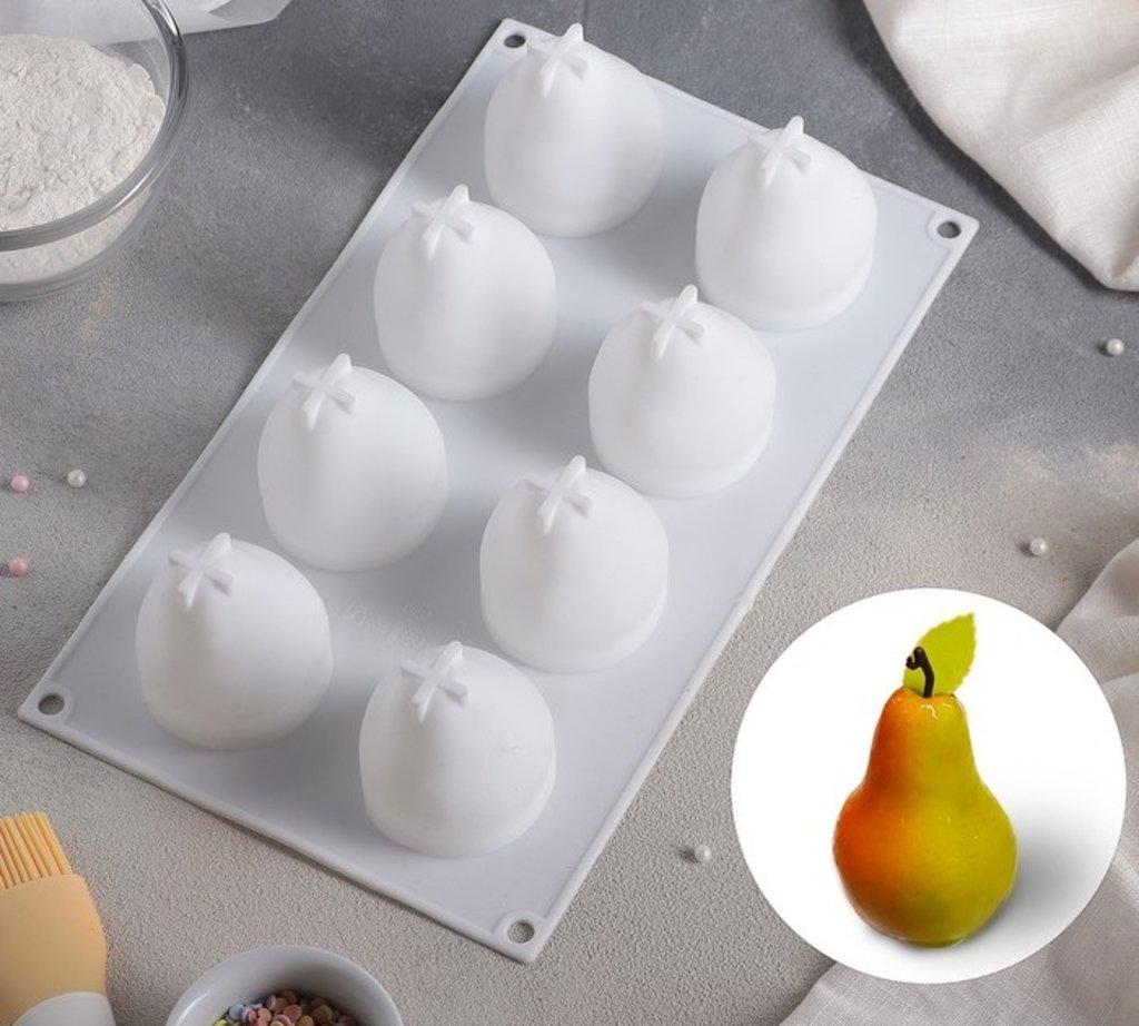"""3d формы: Форма для муссовых десертов и выпечки 29×17 см """"Груша"""", 8 ячеек, цвет белый в ТортExpress"""