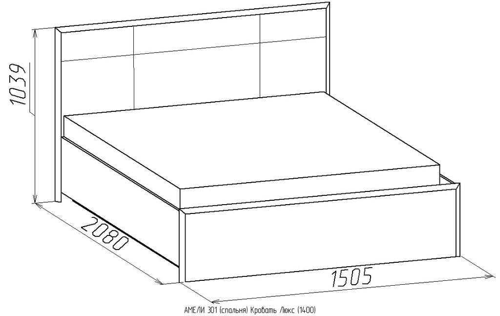 Кровати: Кровать Люкс АМЕЛИ 301 (1400, мех. подъема) в Стильная мебель