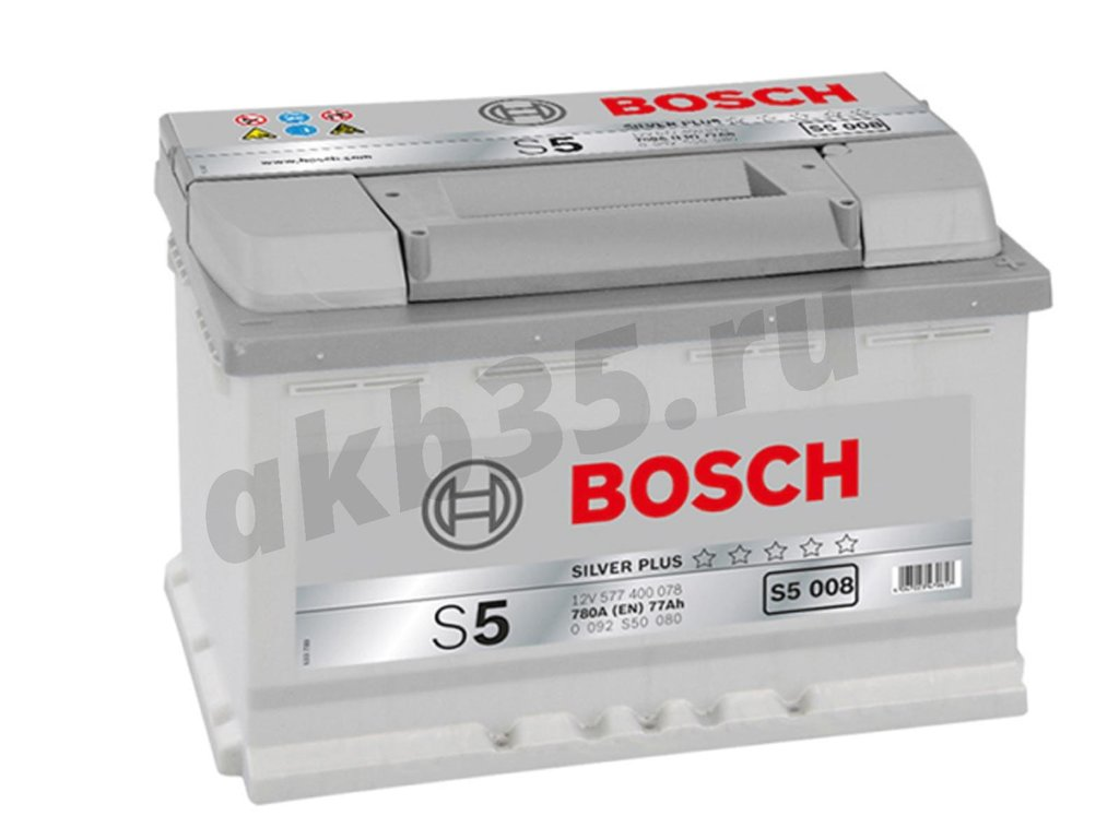 Аккумуляторы: BOSCH 77 А/ч Обратный S5 008 SILVER PLUS (577 400 078) в Планета АКБ