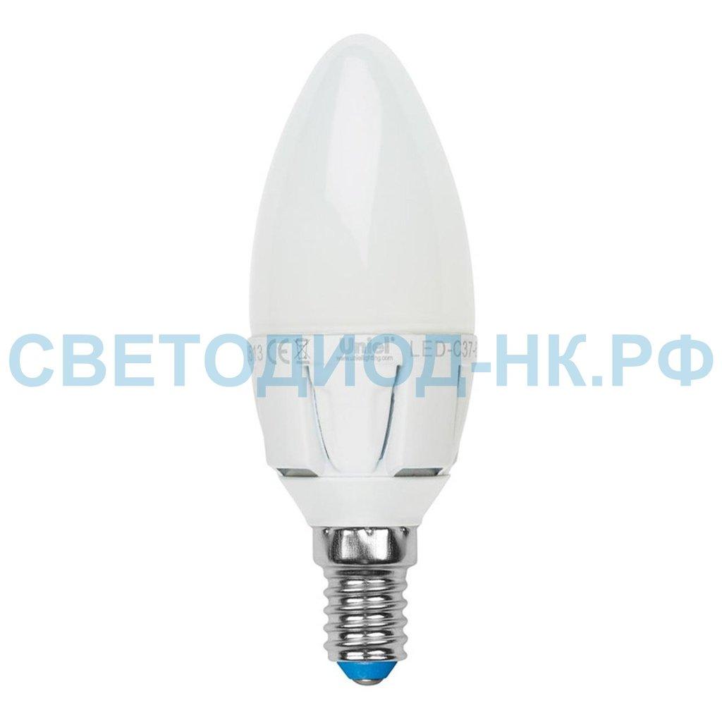Цоколь Е14: LED-C37 7W/WW/E14 свеча 3000К Uniel в СВЕТОВОД