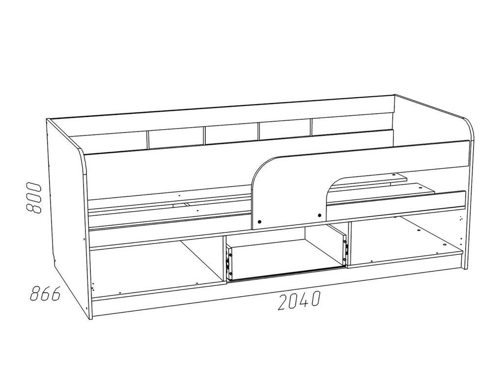 Детские и подростковые кровати: Кровать НМ 039.05 Рико (800x2000, усилен. настил) в Стильная мебель