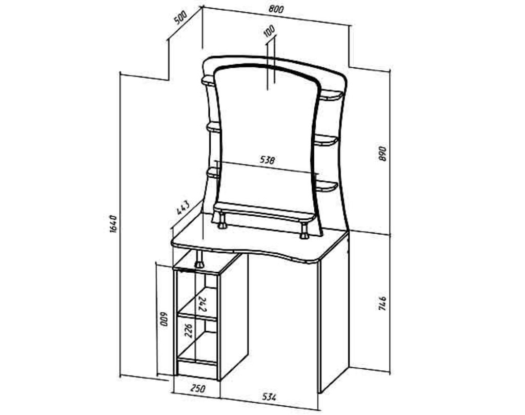 Мебель для спальни Коста-Рика. Модульная серия.: Туалетный столик Коста-Рика в Уютный дом